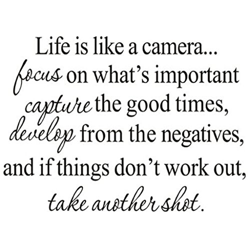 """Life is Like A Camera"" Quote Decors Wall Saying Decals Quote for Home Wall Stickers Nursery Decor(2)"