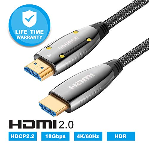 LBG HDMI Braided Fiber Optic Cable 2.0b CL Rated,Fire Safety 4K 60Hz High Speed Support 18.2 Gbps 3D Subsampling 4:4:4/4:2:2/4:2:0, HDR,ARC,HDCP2.2,fits for Apple TV,HDTV, PS4,Roku TV Box - Optical Dvi Cable