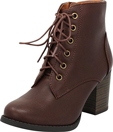 Brown Ankle Chunky Women's Pu Bootie Select up Zipper Lace Heel Cambridge wS7OTqxzW