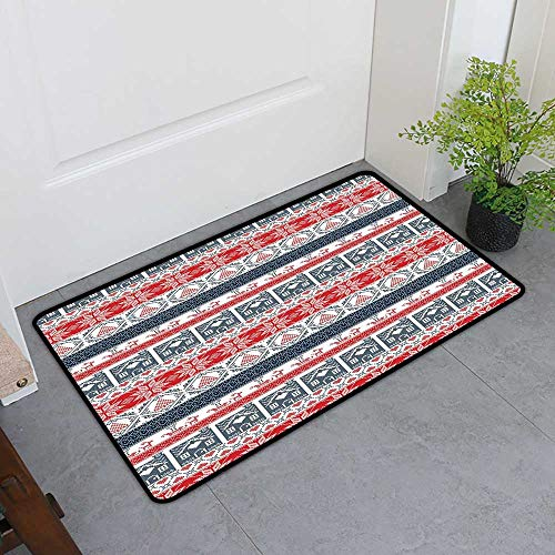 Custom&blanket Low-Profile Mat, Nordic Non-Slip Rugs for Kids Room, Scandinavian Inspirations Winter Stitch Gingerbread House and Tree Sleigh (Dark Blue Red White, H24 x W36)