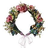 Love Sweety Wedding Festivals Berry Flower Crown witn Adjustable Ribbon (Purple)
