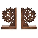 ExclusiveLane Wooden Hand Carved & Engraved Tree Of Life Book End In Sheesham Wood - Book Shelf Book Case Holder Decorative Wooden Bookends Book Stand Desk Bookshelf Book Shelves Desk Book Organizer