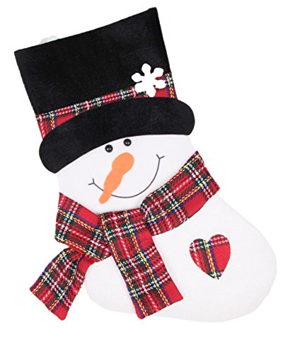 "Traditional Happy Snowman Christmas Stocking by Clever Creations | Black Top Hat and Dimensional Plaid Scarf and Heart | Plush Felted Material | Festive Holiday Décor | Winter Theme | Measures 16"" - Traditional Black Top Hat"