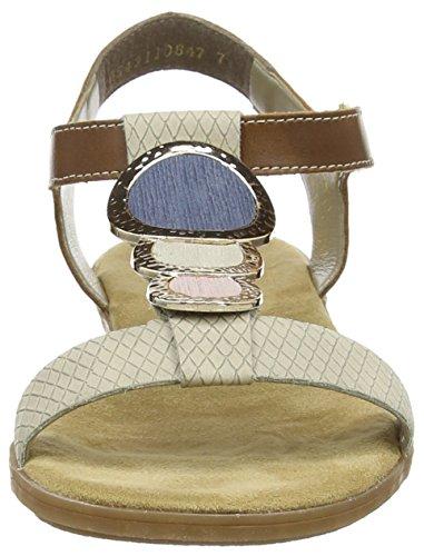 Rieker 64278 - sandalias abiertas de material sintético mujer Beige (Champignon/amaretto/rose/crema/denim / 60)