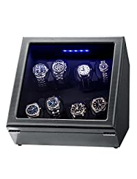 Watch Winder, Piano Finish Carbon Fiber Exterior and Soft Flexible Watch Pillows, 8 Winding Spaces(8+0) with Built-in Illumination, Quiet Watch Winder for Automatic Watches