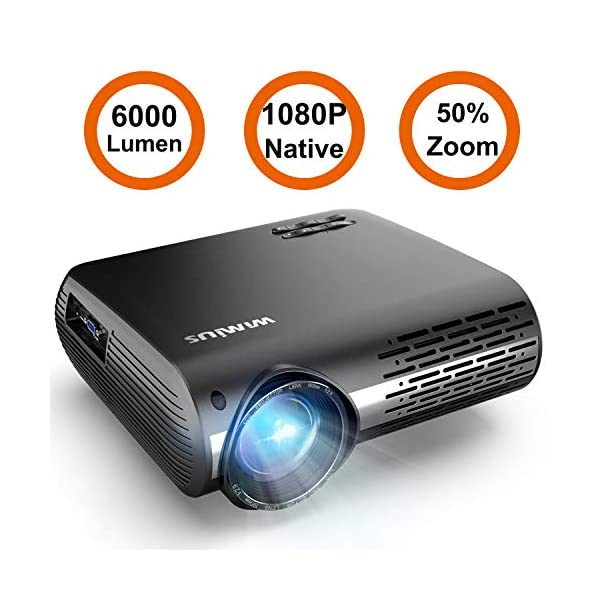 WiMiUS 5500 Lumens Projector Native 1080P White and Black