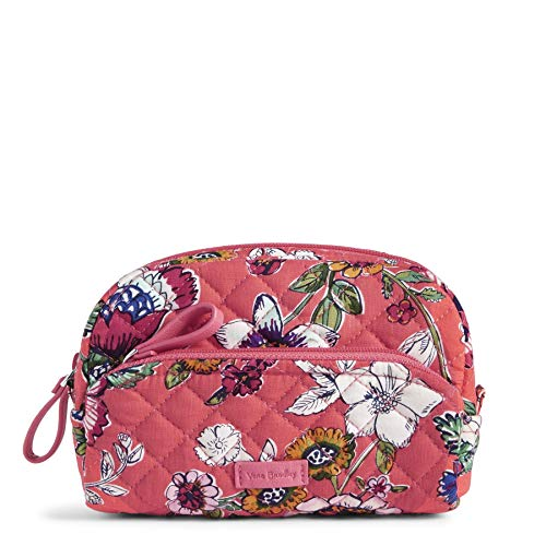 Vera Bradley Iconic Mini Cosmetic in Coral Floral Signature Cotton (Professional Hollywood Style Makeup Case With Lights)