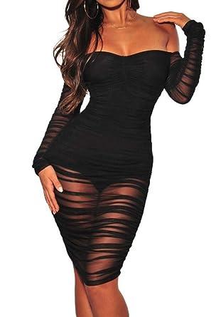 d60e7988f12 ECHOINE Women s Elegant Off Shoulde Mesh See Through Bodycon Maxi Dress Long  Party Gown Plus Size