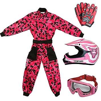 51-52cm + Goggles } Orange Leopard Kids Children Motorbike Motocross Set { CAMO Suit M + Helmet /& Gloves M 7-8 Yrs