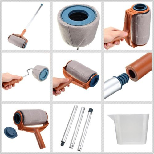 6Pcs/set Paint Roller Brush Handle Pro Flocked Edger Room Wall Painting Runner