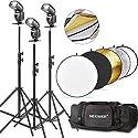 NEEWER NW561フラッシュスピードライトキットCanon Nikonまた他のカメラに対応(3)NW561フラッシュ+(1)32inch/80cm 5-in-1円形レフ板(3)71inch/180cm撮影ライトスタンド(1)照明キットバッグ の商品画像