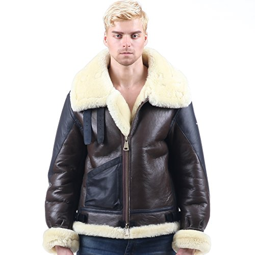 Mens Bomber Pilot Costume (B3 sheepskin Jacket air Bomber Fur Vintage military pilot boy men genuine b-3 (46, Brown))