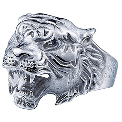 - SAINTHERO Men's 316L Stainless Steel Ring Band Vintage Gothic Tribal Biker Tiger Head Rings Animal Design White Size 10