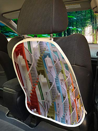 """Ambesonne Architecture Car Seat Protector Set of 2, Singapore at Bugis Village Spiraling Colorful Stairs Modern Picturesque, Universal Kick Mat for Dirt Mud & Scratches, 18"""" x 24"""", Multicolor"""