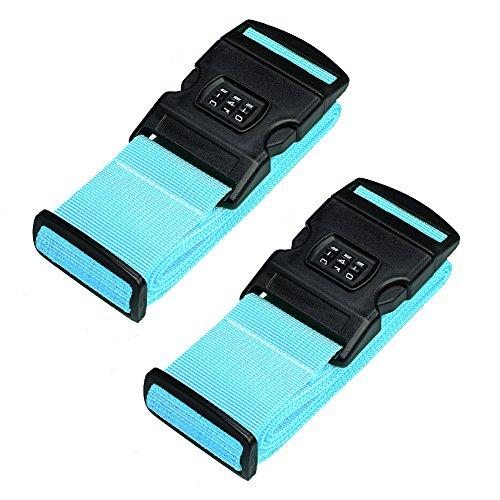 Hibate Luggage Strap with Lock Suitcase Adjustable Belts - Set of 2, Blue - Locking Luggage Strap