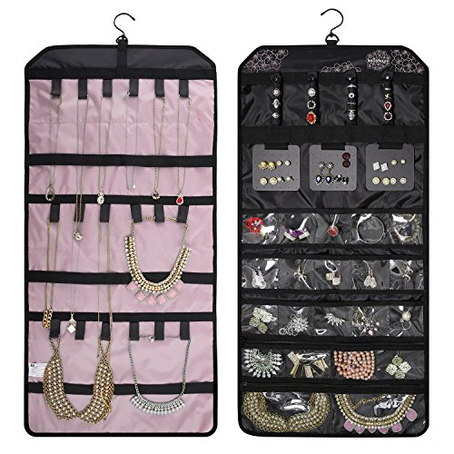 (BAGSMART Double-sided Hanging Jewelry Organizer Roll up Bag for Earrings, Necklaces, Rings, Pink)