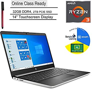 "HP 14 14"" Touchscreen Laptop Computer, AMD Ryzen 3 3200U up to 3.5GHz (Beats i5-7200U), 32GB DDR4, 2TB PCIE SSD, Microphone, Online Class Ready, Windows 10, BROAGE 3-in-1 Stylus 64GB Flash Drive"