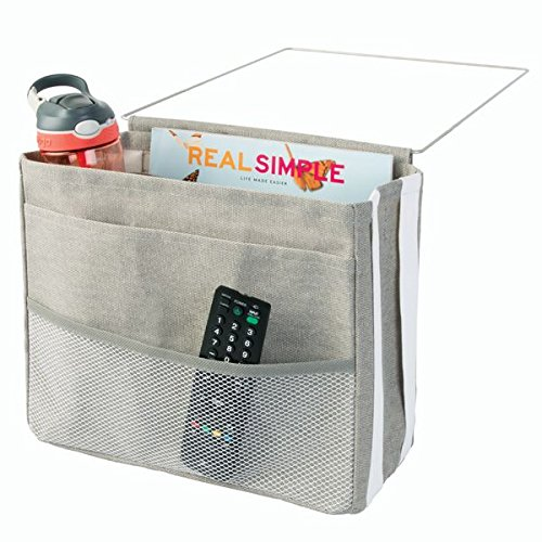 mDesign Bedside Caddy Storage Organizer for Phone, Tablet, Magazines, Water Bottle, Remote Control - 3 Pockets, Light Gray