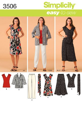 (Simplicity Easy-to-Sew Pattern 3506 Misses Dress or Top, Skirt, Pants, Jacket, Tie Belt Sizes 10-12-14-16-18)
