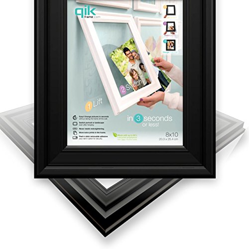 QIK FRAME: Quick Change Wall Picture Frame, 8x10 Black (Use Horizontal Landscape) | Easy as 1,2,3 - Peel, Stick & Lift to Change. Fast Install, No Nails! Change Art Images ()