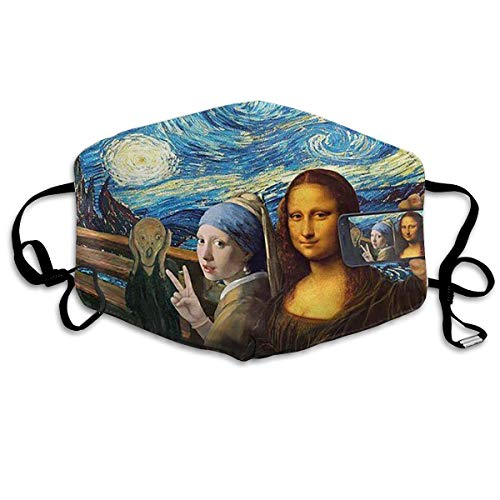 Mona Lisa Self Timer Mouth Mask Unisex Anti-dust Cotton Face Mask for Men and Women, Boys and Girls