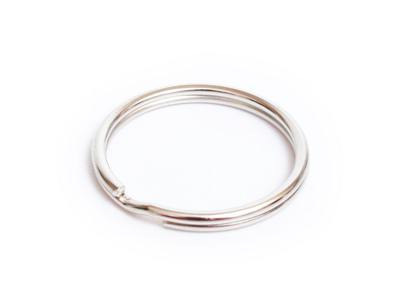 Prudance 200Pcs 1 Nickel Plated Steel Heat Treated Lead-free Round Edged Split Rings//Key Rings 25mm