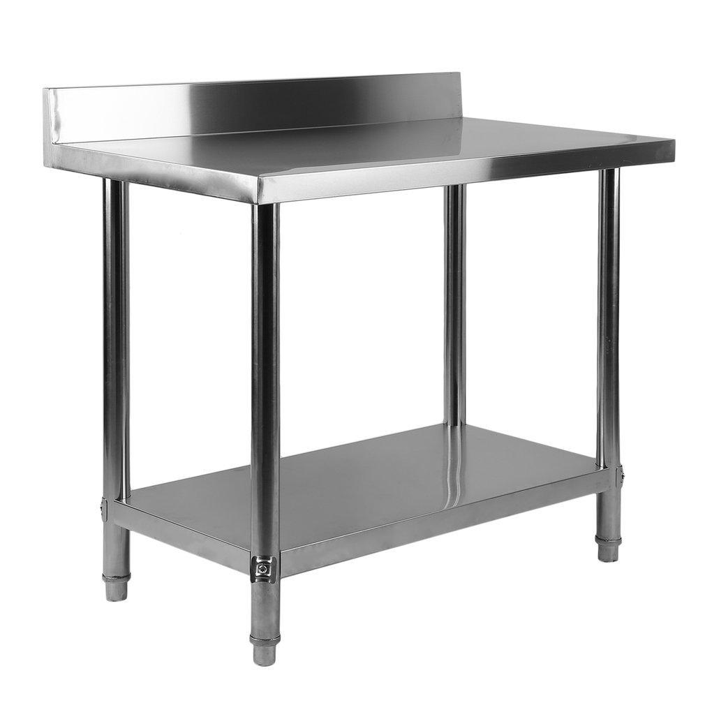 Homgrace Table de cuisine en acier inoxydable table de travail avec deux tablettes, comptoir de cuisine pour la pré paration des aliments, pour usage domestique ou commercial (100x60x80) comptoir de cuisine pour la préparation des aliments ZM1252601