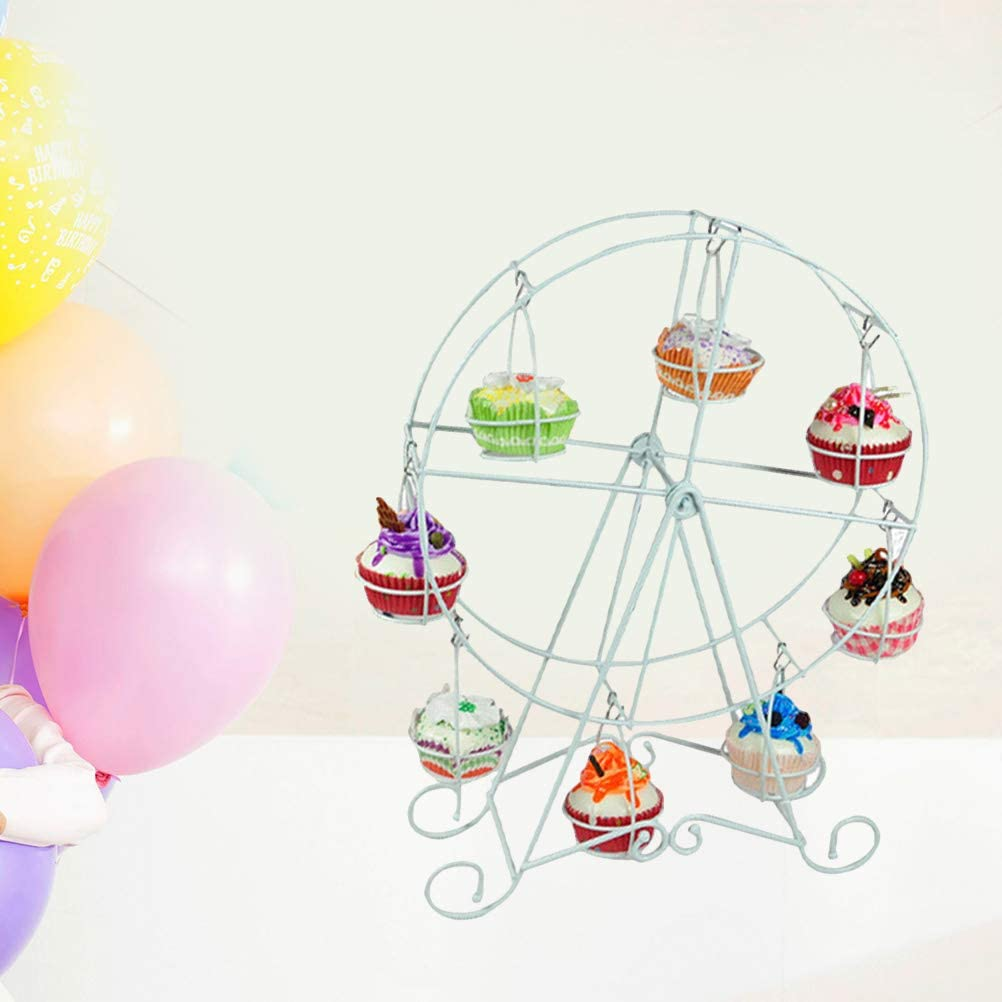 Iron UPKOCH Ferris Wheel Cupcake Stand Dessert Carrier Display for Circus Party Kids Birthday Wedding and Carnival