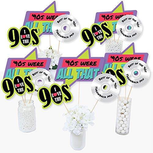 90's Throwback - 1990s Party Centerpiece Sticks - Table Toppers - Set of 15 -