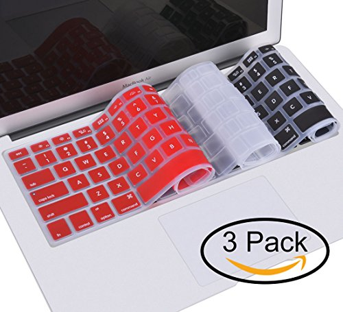 VCOO 3 Pack Keyboard Cover for Macbook Pro 13 Inch,15 Inch(with or without Retina Display,2015 or Older Version) (Air 2015)