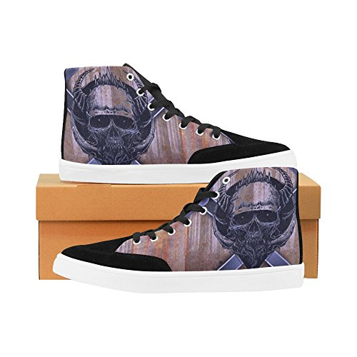 D-Story Custom Skull High Top Shoes For Men Canvas Shoes Fashion Sneaker