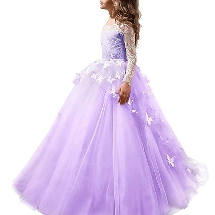 b64172483 Vestido de Fiesta de Encaje Manga Larga Elegante Niñas Ropa de Princesa  Boda Ceremonia Primera Comunión Bautizo Prom Baile Costume para Chicas 2-13  Años