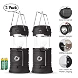 Rechargeable LED Camping Lantern USB,COB Lantern Flashlight 2 Power Supply Modes Survival Kit for Emergency, Hurricane, Power Outage(2 pack)