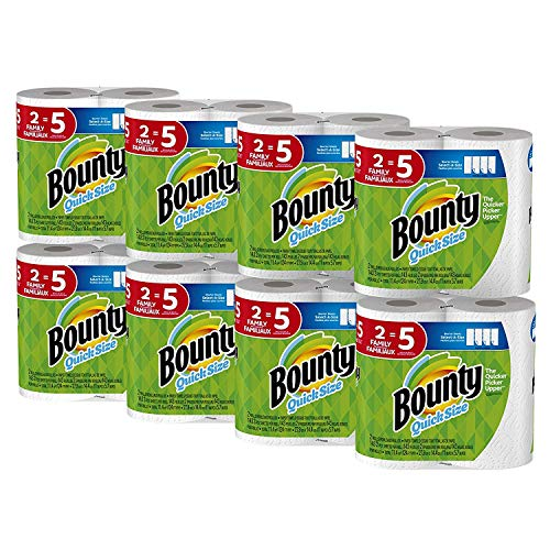 Bounty Quick-Size Paper Towels, White, Family Rolls, 16 Count (Equal to 40 Regular Rolls) -