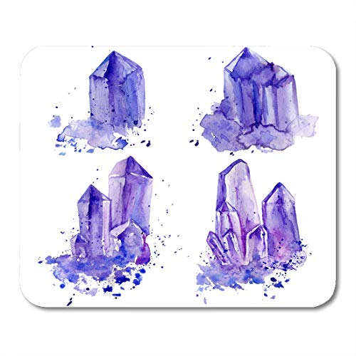 Emvency Mouse Pads Watercolor Purple Crystals Amethyst Cluster Painting White Tanzanit Gem Mouse Pad for notebooks, Desktop Computers mats 9.5