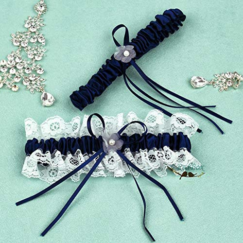 2Pcs /Set Dark Blue Wedding Garter Set Decoration Lace Flower Bow Bridal Sexy Woman Accessories