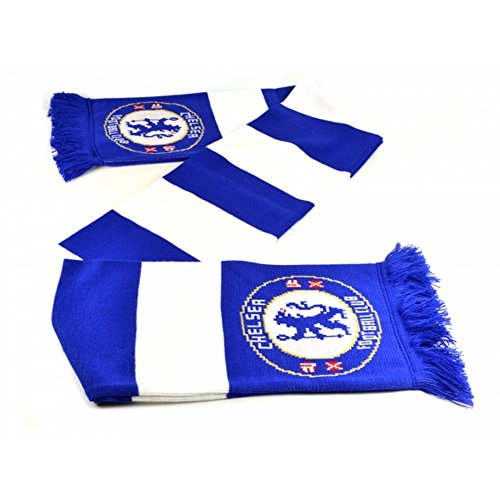 - Chelsea FC Official Soccer Jacquard Bar Scarf (One Size) (Blue/White)