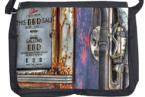 Borsa Tracolla Nostalgico Retrò Auto Garage di pompa di gas Stampato