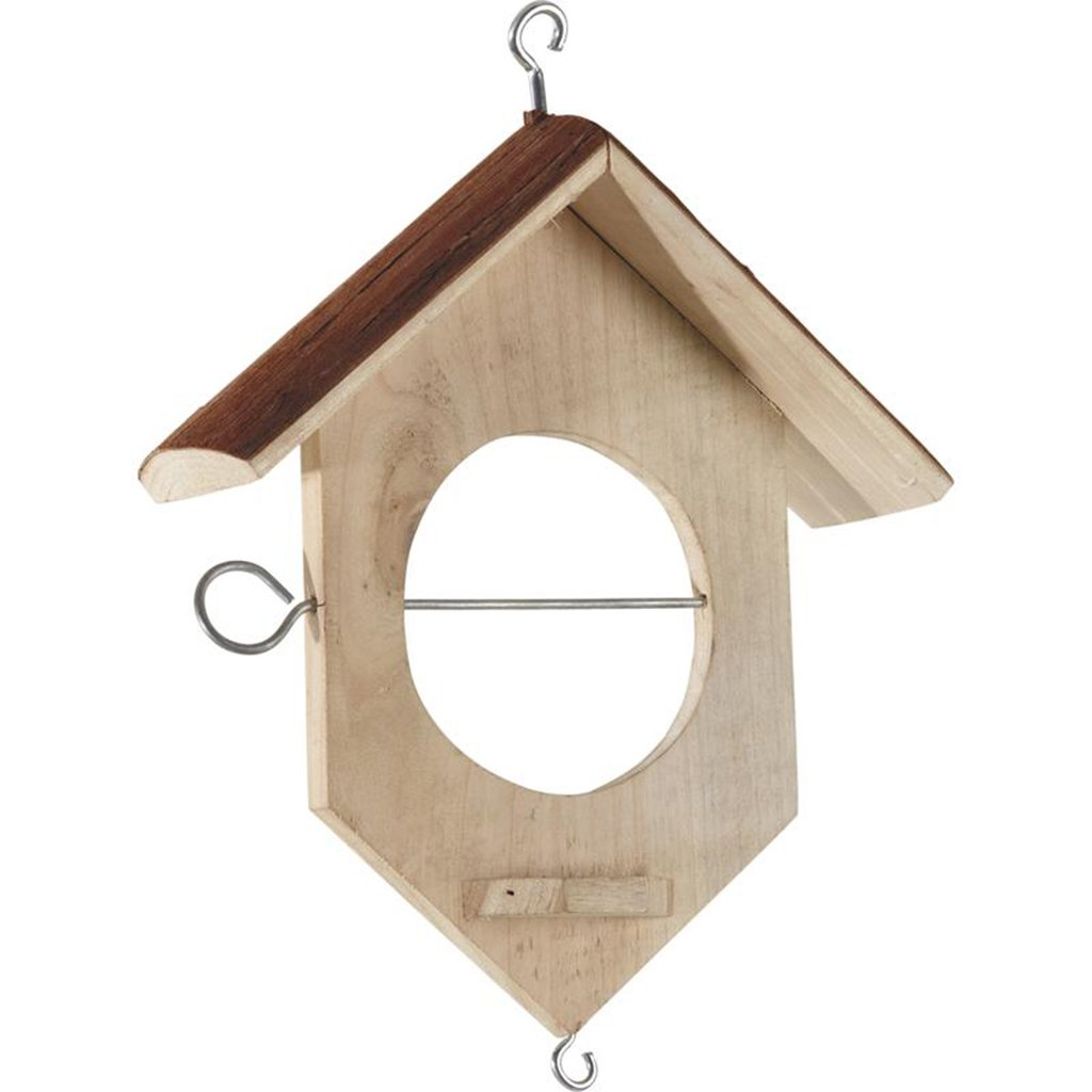 rustique en bois à suspendre pour oiseaux avec toit en écorce de bois recyclé Finition naturelle et texturée–Charmant Jardin–accessoire Idéal Bird Watcher de cadeau pour Crémaill