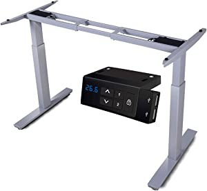 HAIAOJIA Electric Stand up Desk Frame Workstation, Dual Motor Ergonomic Electric Standing 2-Stage Lifting Columns Height Adjustable Base with Memory Controller - Frame Only