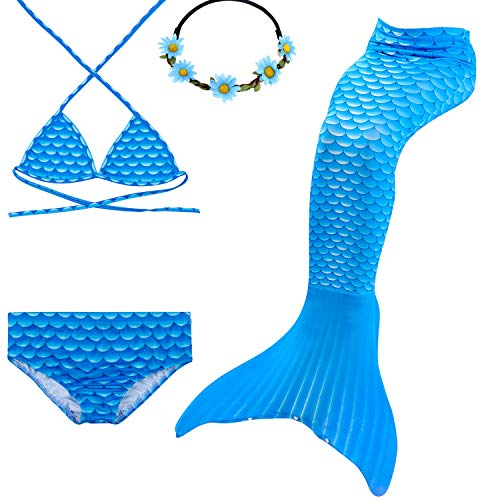 (GALLDEALS 3PCS Girls' Swimsuit Mermaid Tail for Swimming Princess Bikini Set Swimsuit Bathingsuit (No Monofin) (3-4 Years, Sky)