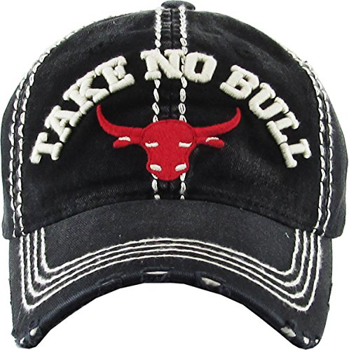 H-212-TNB06 Distressed Vintage Patch Hat - Take No Bull (Black)