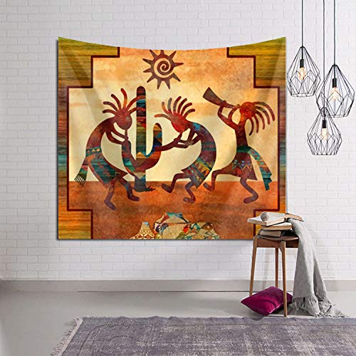 (Tidyki Southwest Native American Kokopelli Tapestry Wall Hanging Hippie Blanket Tapestries Home Decorations for Bedroom Living Room Dorm Decor 60x90 Inch )