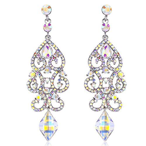 Janefashions Large Sexy Austrian Crystal Rhinestone Chandelier Dangle Earrings Bridal E2084 3 Colors (AB White) ()