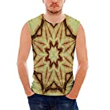iPrint Mens Workwear Tie Dye Decor Ultra Cotton Tank,Trippy Ethnic Thai Mandala Motif