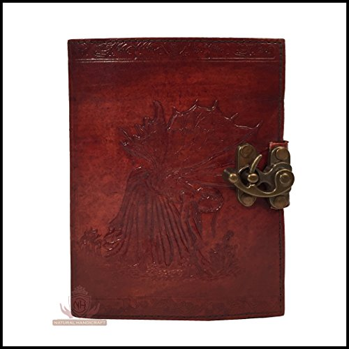 Fate's Fairy Handmade Leather Journal Embossed Book of Shadows Notebook Handbook Office Diary College Book Poetry Book Sketch Book 5 x 7 Inches