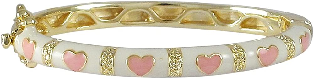 Ivy and Max Gold Finish White Enamel Pink Hearts Girls Bangle Bracelet