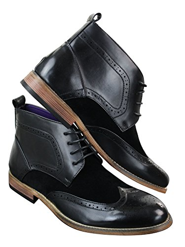 Suede Boots Brogues Mens Lace PU Black Leather Ankle Black Smart Casual Shoes qxn610EAI6