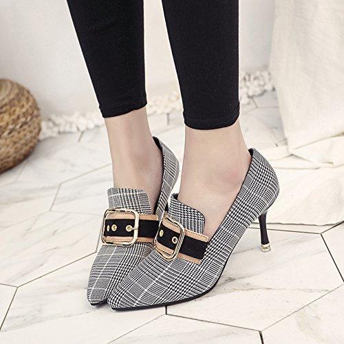 Das Mädchen fein mit einzelnen Schuhe Mode Gürtelschnalle Tipp Grid Cat Cat Grid Track Schuhe, Schwarz, 36 - 9878b7