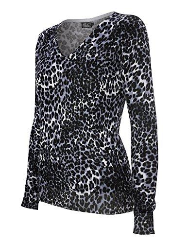Cotton Animal Print V-neck Cardigan - 6